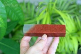 寿山石,高山朱砂红空白印章。