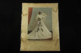 解放初期 无锡国营湖光摄影社  超大幅美女结婚照 手工上色,尺寸:42×31.5㎝