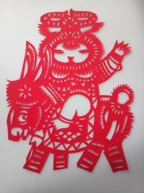 东北娃闹新春 骑小毛驴 传统手工剪纸 民间艺术 未托裱 (年代:2000年)