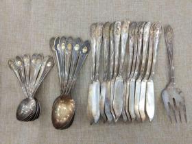 西洋 欧洲古董 德国 餐具 镀银 100银 刀12把 叉1个 大勺6个 小勺6个 一组 可以分开出售