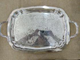 西洋 欧洲古董 餐具 镀银 方托盘 刻花