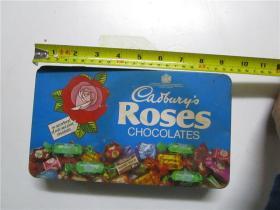 约七十年代 ROSES CHOCOLATES (玫瑰巧克力)铁皮包装盒 (尺寸;长23.5cm*宽13.5cm*高4.5cm)