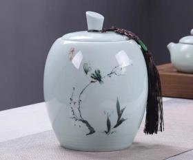 青瓷密封存储茶罐/个人藏品无使用