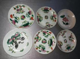 年底特惠清末民国手绘花卉盘子碟子6个共300包老全品瓷器收藏