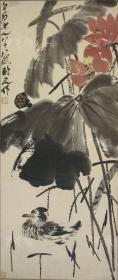齐白石 水墨花鸟画《荷花图》印刷复制工艺品 一幅(纸本绫裱立轴,约1.8平尺,钤印:白石)HXTX109537