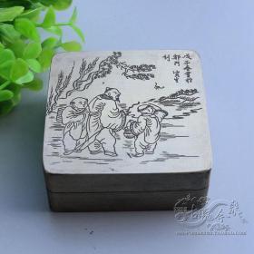 松下问童子人物故事纯铜墨盒