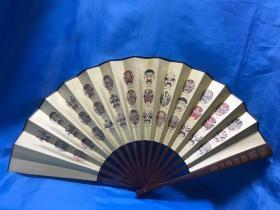 扇子(中国脸谱+书法+文祥 刻+名人 印) Fan (Chinese Facebook + Calligraphy + Wenxiang Engraving + Celebrity Print)
