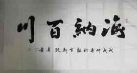 陕西大家书画院院长张亚林书法一共二副,两一幅四尺,一副四尺斗方(海纳百川)