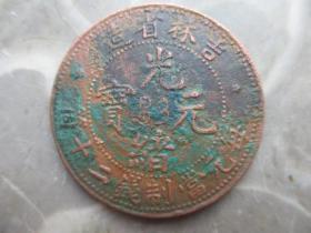 铜元,吉林省造。二十文,稀少,7级版