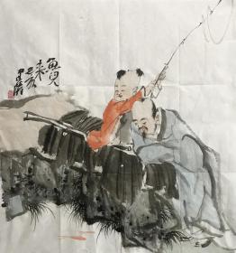 【精品人物畫 保真】【強烈推薦】曹建濤/藝名老五,獨具特色的水墨人物畫家,1975年生于山東鄆城,山東省美術家協會會員,中華收藏家協會會員,齊魯書院特邀畫家。佛自人來,禪在妙悟。他的畫筆之下充滿著智慧與機趣的禪意。人物畫作品15《魚兒來》(60×60cm)。