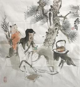 【精品人物畫 保真】【強烈推薦】曹建濤/藝名老五,獨具特色的水墨人物畫家,1975年生于山東鄆城,山東省美術家協會會員,中華收藏家協會會員,齊魯書院特邀畫家。佛自人來,禪在妙悟。他的畫筆之下充滿著智慧與機趣的禪意。水墨人物畫作品16《品茗》(60×60cm)。