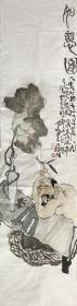 【精品人物畫 保真】【強烈推薦】曹建濤/藝名老五,獨具特色的水墨人物畫家,1975年生于山東鄆城,山東省美術家協會會員,中華收藏家協會會員,齊魯書院特邀畫家。佛自人來,禪在妙悟。他的畫筆之下充滿著智慧與機趣的禪意。水墨人物畫條屏作品17《如意圖》(35×136cm)。