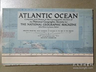 National Geographic國家地理雜志地圖系列之1955年12月 Atlantic Ocean 大西洋地圖