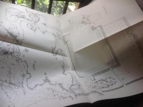 买满就送  日本有名庭园实测图纸 天龙寺庭园 两张图纸(复印件)
