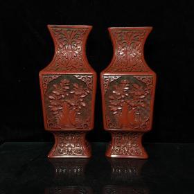 漆器花瓶一对 剔红漆器浮雕方形花瓶