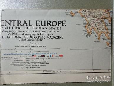 National Geographic國家地理雜志地圖系列之1951年9月 Central Europe including The Balkan States 中歐巴爾干半島地圖
