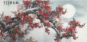 ?【保真】【田成喜】毕业于西安美术学院,中国书画家协会理事、长安东方书画院院长、陕西中华传统书画研究院院长,长安东方书画院实力派画家、四尺整张梅花(138*69CM)(报春图)