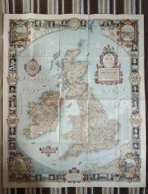 National Geographic�藉�跺�扮����蹇��板�剧郴��涔�1937骞�6�� A Modern Pilgrims Map of British Isles �卞�藉�板��
