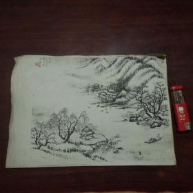南通书画名家顾梦吾在绘画印刷品上毛笔字并钤印(2)