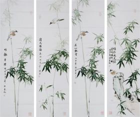 (名家字画),【许墨 】 ,真迹,省美术家协会会员,中国书法家协会会员,中国一级书法师青年画家,大字墨神,,花鸟四条屏,尺寸:126厘米*32厘米*4条(四条屏