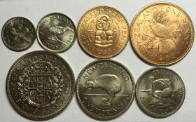 新西兰1965年清年份硬币7枚一套 好品1便士-半克朗 青年女王头像