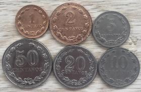 女神版 阿根廷1939-1944年早期硬币6枚一套 1-2-5-10-20-50分钱币