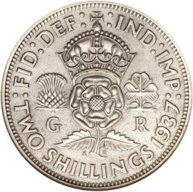 w 玫瑰花皇冠 英国乔治六世1937-50年2先令银币 50% 11.3g 28.3mm随机发