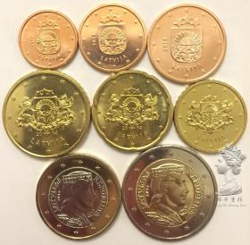 首发版 拉脱维亚2014年清年份硬币8枚一套大全套 1分-2欧元全新