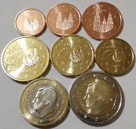 西班牙2019年最新版清年份硬币8枚一套大全套1欧分-2欧元 卷拆UNC