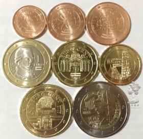 奥地利2018年最新版清年份硬币8枚一套大全套1欧分-2欧元 卷拆UNC