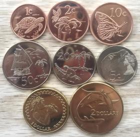 托克劳群岛2017年清年份硬币8枚一套大全套 动物版 1分-2元钱币