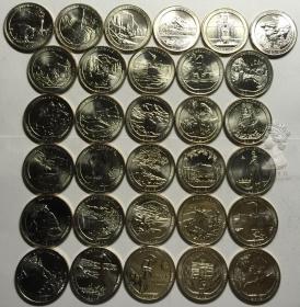 美国国家公园25美分25分纪念币2010-2018年45枚超级大全套卷拆UNC