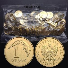 波兰1格罗希硬币100枚整包外国硬币钱币直径15mm欧洲纪念币