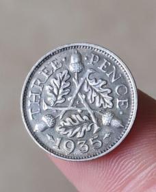 银币英国3便士乔治五世纪念币银币直径约约16mm年份随机钱币