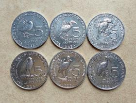 布隆迪5法郎硬币6个套2014年版濒危野生动物系列铝币