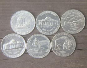 旧币1套6枚美国杰斐逊总统5生丁纪念币北美洲硬币钱币有磕碰