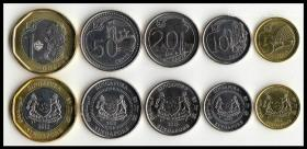 新加坡硬币5个套纪念币收藏外国亚洲钱币