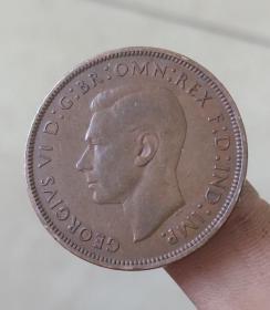 旧币英国1便士乔治六世女神纪念币硬币约31mm年份随机钱币