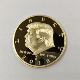 2018年新款美国总统特朗普Trump川普镀金纪念币 美国总统硬币收藏