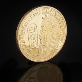 古埃及法老狮身人面像镀金纪念币 外国硬币古文化幸运金币收藏品