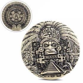 墨西哥玛雅文明金字塔纪念币 阿兹特克图腾羽蛇神大铜章古文明币