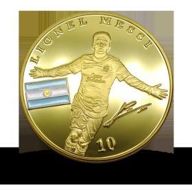 梅西 巴塞罗那俱乐部阿根廷足球明星镀金币纪念章 足球杯纪念币