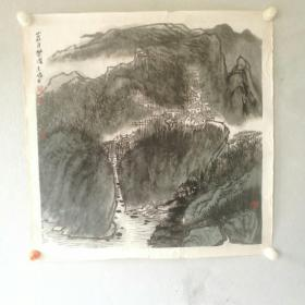 保真字画【詹志峰】(中国美协会员)国画《山庄自乐图》画心尺寸 68*68cm