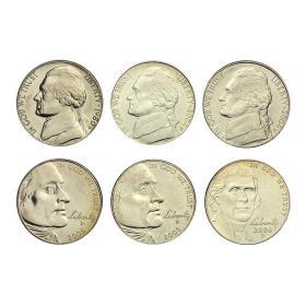 【美洲】美国5美分硬币杰斐逊纪念币6枚大全套全新卷拆品相钱币