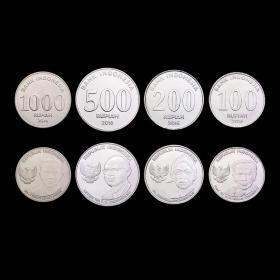 【Y-2】外国硬币印度尼西亚硬币4枚大全套新版2016年