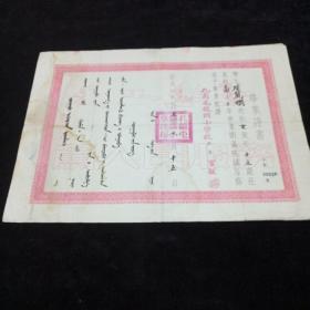 50年代蒙文毕业证。