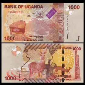 【】全新UNC乌干达1000先令纸币外国钱币2017年P-NEW