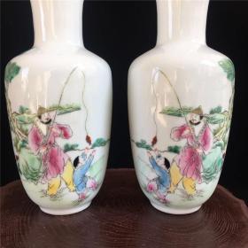 民国年间粉彩手绘填彩人物观音瓶