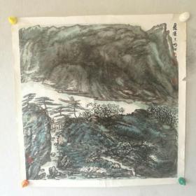 保真字画【詹志峰】(中国美协会员)国画《夏溪》画心尺寸 68*68cm