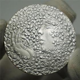 日本硬币国花樱花女神纪念币大和民族文化纪念币桐纹家徽外币镀银